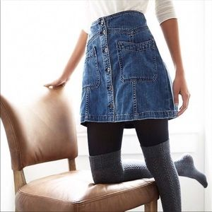 Free People Button Front Denim Mini Skirt!